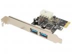 Контроллер Orient NC-3U2PE (PCI-E, 2 Port USB 3.0, доп разъём питания, NEC UPD720200) Ret