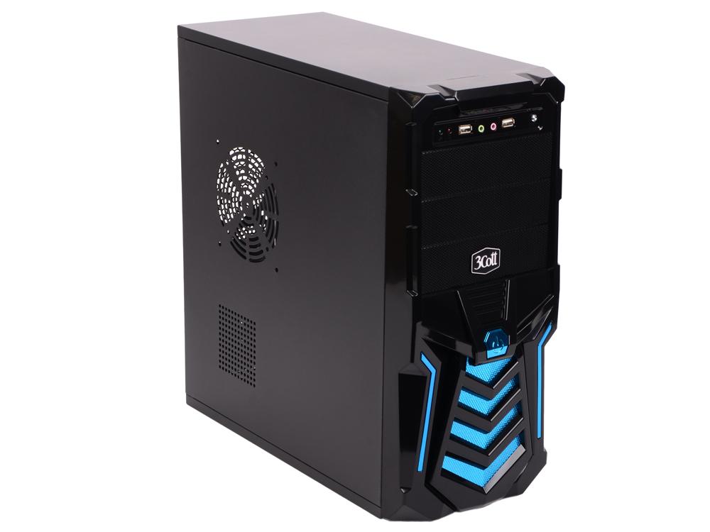 """Корпус 3Cott 3C-ATX110GB """"Gladiator"""" для игрового компьютера,  ATX,  блок питания 500 Вт,  выходы USB 2. 0x2,  аудиовыход,  микрофонный вход,  синий"""