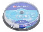 Диски CD-R 80min 700Mb Verbatim 52x 10 шт Cake Box DL <43437>
