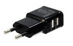 Зарядное устройство/ адаптер питания USB от эл.сети Orient PU-2402, два выхода USB, 5В /  2.1A, черный