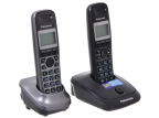 Телефон DECT Panasonic KX-TG2512RU2 АОН,  Caller ID 50,  10 мелодий,  Спикерфон,  Эко-режим,  + дополнительная трубка