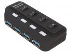 Концентратор USB 3. 0 ORIENT BC-306PS,  USB 3. 0 HUB 4 Ports,  c БП-зарядником 2xUSB (5В,  2. 1А),  выключатели на каждый порт,  черный