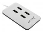 Концентратор USB 2.0 Orient MI-430 (Mini, магнит, плоский, 4 Port) White