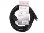 Кабель USB 2.0 A-->mini-B 5P (3,0м) чёрный TELECOM <TC6911BK-3.0M>