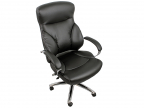 Кресло College H-9582L-1K Черный экокожа, 120 кг, подлокотники кожа/ хром, крестовина хром
