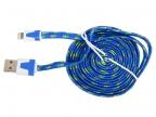 Кабель Lightning 8pin-USB Ritmix RCC-222 Blue для синхронизации/ зарядки, 2м, ткан. опл.