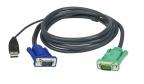 Шнур,  мон+клав+мышь USB,  SPHD15=>HD DB15+USB A-Тип ATEN (2L-5201U) Male-2xMale,  8+4 проводов,  опрес