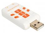 Адаптер ORIENT AU-01PLW, USB to Audio, 2 x jack 3.5 mm для подключения гарнитуры к порту USB, кнопки: регул. гром., выкл.микрофона и наушников, управл