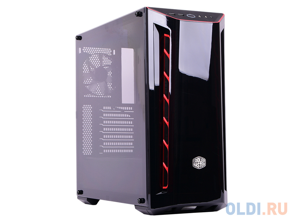 Фото - Cooler Master MasterBox MB520, 2xUSB3.0, 1x120 Fan, w/o PSU, Black, Red Trim, DarkMirror Front Panel lace panel open shoulder plus size long tee
