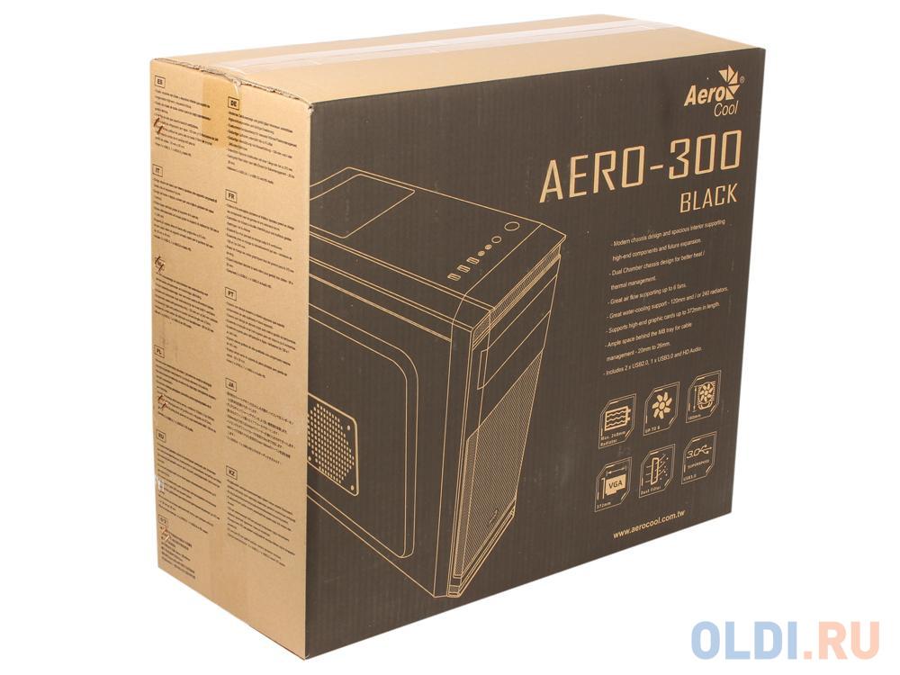 Корпус Aerocool [PGS-A] Aero-300 чёрный , ATX, без БП, 1x USB 3.0 + 2x USB 2.0