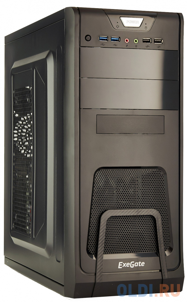Exegate EX278390RUS Корпус Miditower Exegate CP-603 Black, ATX, , 2*USB+2*USB3.0, Audio