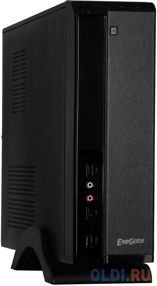 Exegate EX268690RUS Корпус MiniITX Exegate MI-207 Black, miniITX/mATX, , 2*USB, Audio корпус inwin emr001 black silver matx 450w usb audio