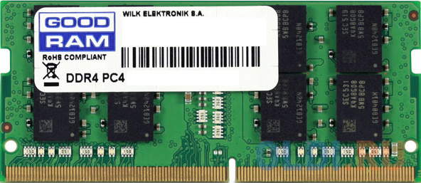 Фото - Оперативная память для ноутбука 16Gb (1x16Gb) PC4-19200 2400MHz DDR4 SO-DIMM CL17 Goodram GR2400S464L17/16G оперативная память 16gb pc4 19200 2400mhz ddr4 dimm lenovo 46w0829