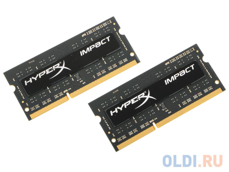 Оперативная память для ноутбука Kingston HyperX Impact HX318LS11IBK2/8 SO-DIMM 8GB DDR3 1866MHz оперативная память для ноутбуков kingston hyperx impact hx432s20ib2 8 so dimm 8gb ddr4 3200mhz so dimm 260 pin pc 25600 cl20