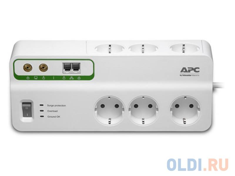 Сетевой фильтр APC PMH63VT-RS 6 розеток 2.4 м белый сетевой фильтр apc pm5 rs 5 розеток 1 83 м белый