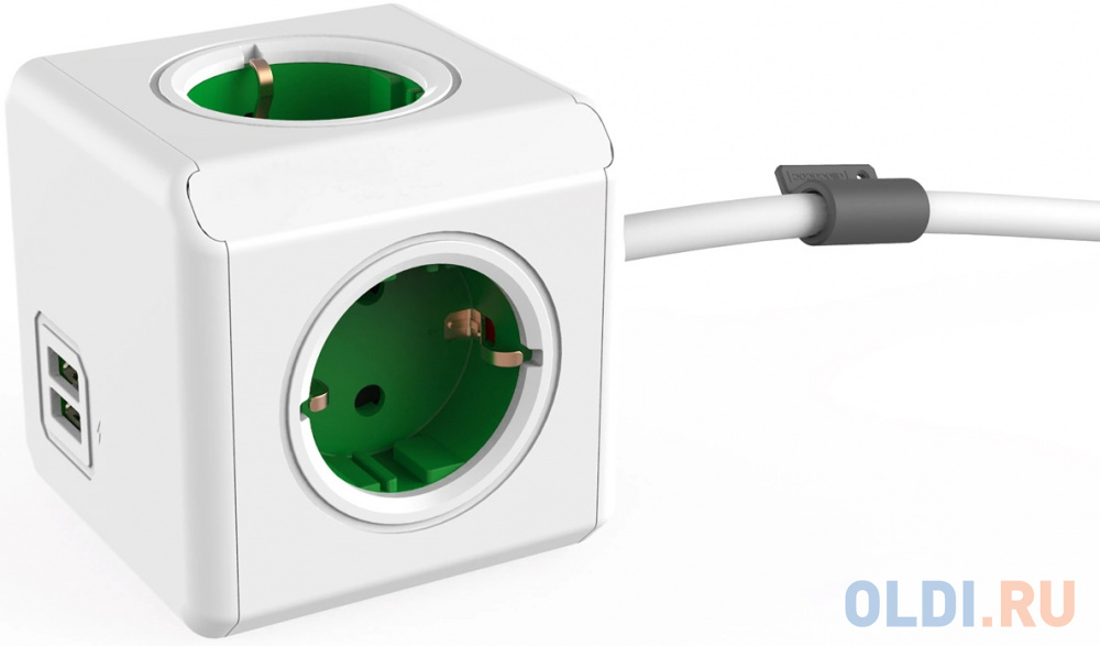 Фото - Разветвитель Allocacoc Extended 4 розетки 2xUSB 1.5 м разветвитель allocacoc powercube extended usb серый
