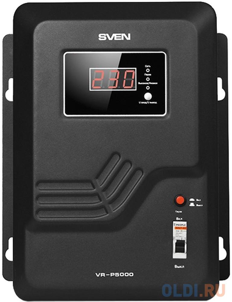 Stabilizer SVEN VR-P 5000, Relay, 5000VA, 3300W, 140-275v, output terminals, black, 350 ? 285 ? 160mm, 9.51kg. new original dvp32ec00r3 plc ec3 series 100 240vac 16di 16do relay output