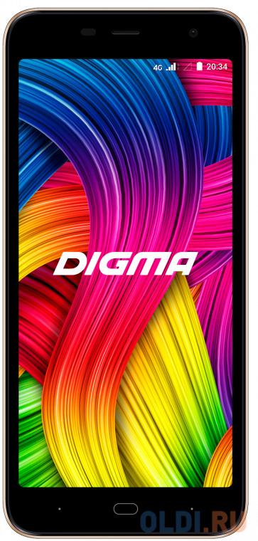 "Смартфон Digma Base 4G Linx 8Gb 1Gb золотистый моноблок 3G 4G 2Sim 5.34"" 480x960 Android 8.1 8Mpix 802.11 a/b/g/n BT GPS GSM900/1800 GSM1900 TouchSc MP3 FM microSD max64Gb"