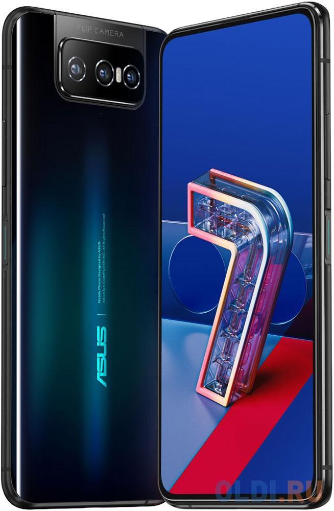 "Смартфон Asus ZS670KS Zenfone 7 128Gb 8Gb черный моноблок 3G 4G 2Sim 6.67"" 1080x2400 Android 10 64Mpix 802.11 a/b/g/n/ac/ax NFC GPS GSM900/1800 GSM1900 MP3 microSD max2048Gb"