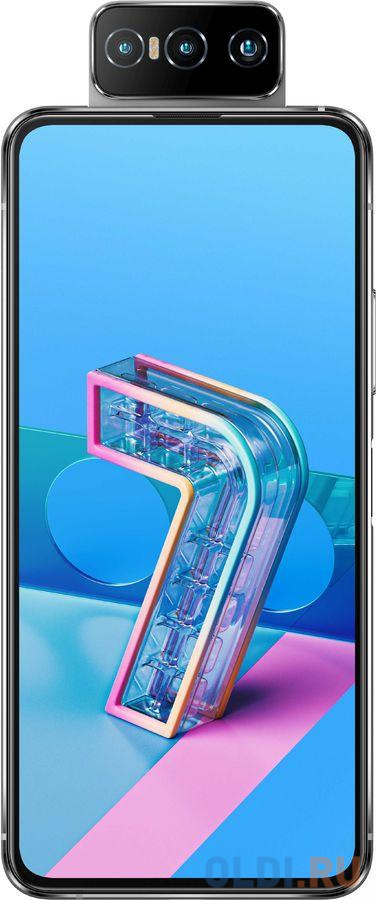"Смартфон Asus ZS670KS Zenfone 7 128Gb 8Gb белый моноблок 3G 4G 2Sim 6.67"" 1080x2400 Android 10 64Mpix 802.11 a/b/g/n/ac/ax NFC GPS GSM900/1800 GSM1900 MP3 microSD max2048Gb"