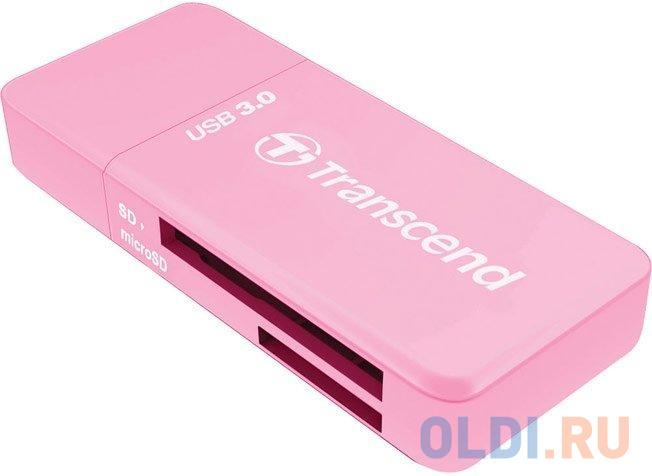 Картридер Transcend RDF5 USB 3.0 для карт памяти SD/microSD с поддержкой UHS-I розовый TS-RDF5R.