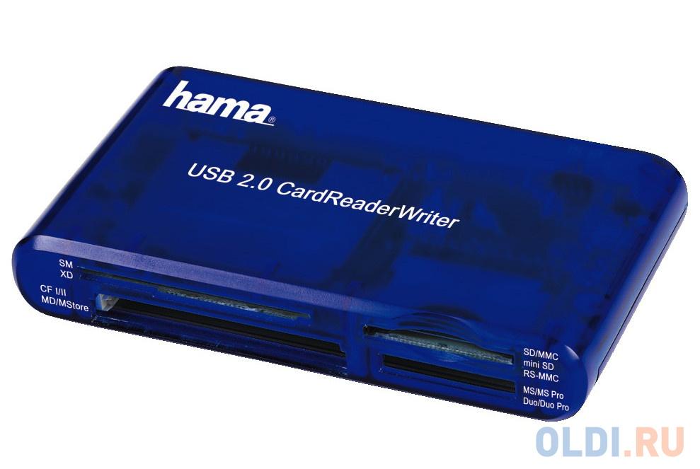 Картридер внешний Hama H-55348 35в1 USB 2.0 поддерживает SDXC синий картридер внешний hama h 94124 для всех стандартов basic usb 2 0 поддерживает sdxc черный