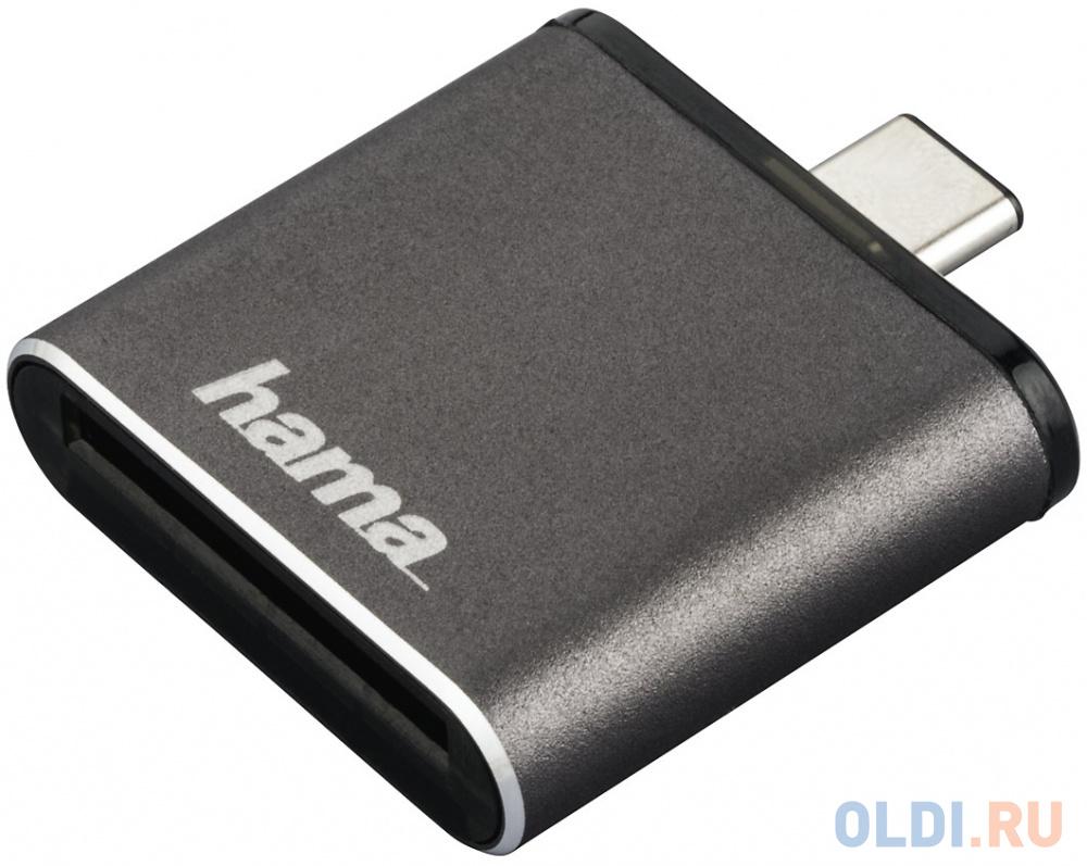 Картридер внешний Hama H-124186 USB3.1 серый 00124186 картридер внешний hama multi h 124022 черный [00124022]