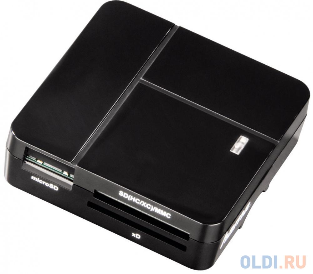 Картридер внешний Hama H-94124 для всех стандартов Basic USB 2.0 поддерживает SDXC черный картридер внешний hama multi h 124022 черный [00124022]
