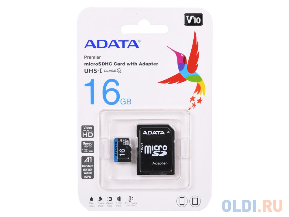 Карта памяти 16GB Premier A1 MicroSDHC UHS-I Class 10 ADATA 90/25 MB/s с адаптером