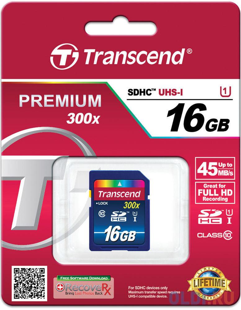 Карта памяти SDHC 16Gb Transcend UHS-I 300x Premium Class10