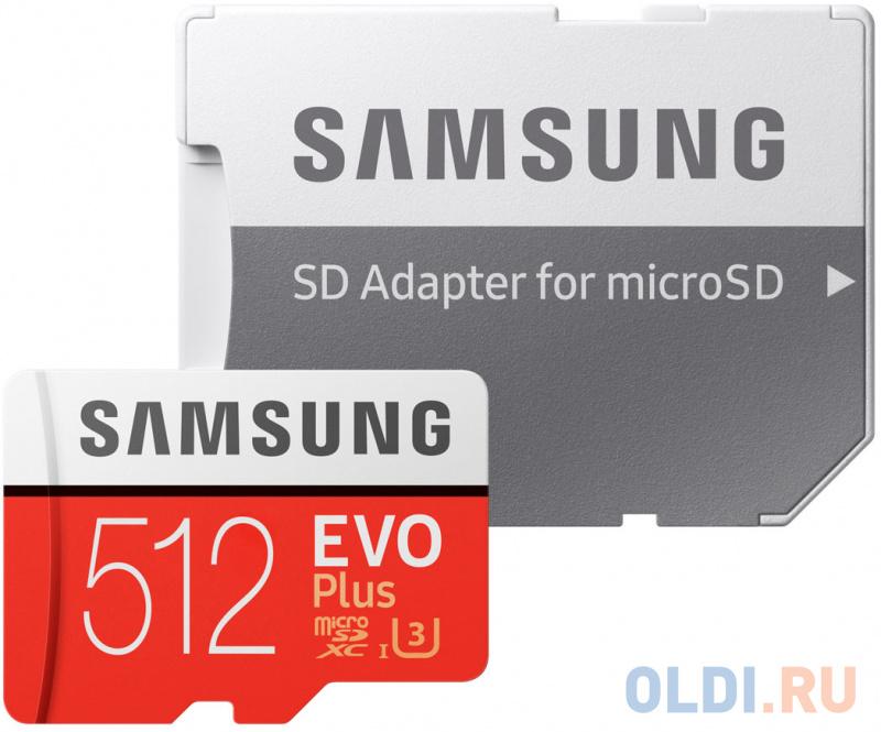 microSDXC 512GB Samsung EVO Plus Memory Card Samsung MB-MC512HA/RU UHS-I U1 Class 10, Adapter, 100/90 MB/s, 10000 циклов, - 25°C to 85°C, RTL (168246) карта памяти samsung 64gb evo plus v2 microsdxc class 10 u1 sd adapter mb mc64ha