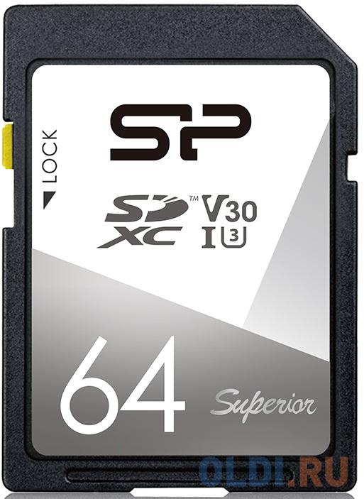 Флеш карта SD 64GB Silicon Power Superior SDXC Class 10 UHS-I U3 V30 100/80 Mb/s флеш карта microsd 256gb silicon power superior pro a1 microsdxc class 10 uhs i u3 colorful 100 80 mb s sd адаптер sp256gbstxdu3v20ab