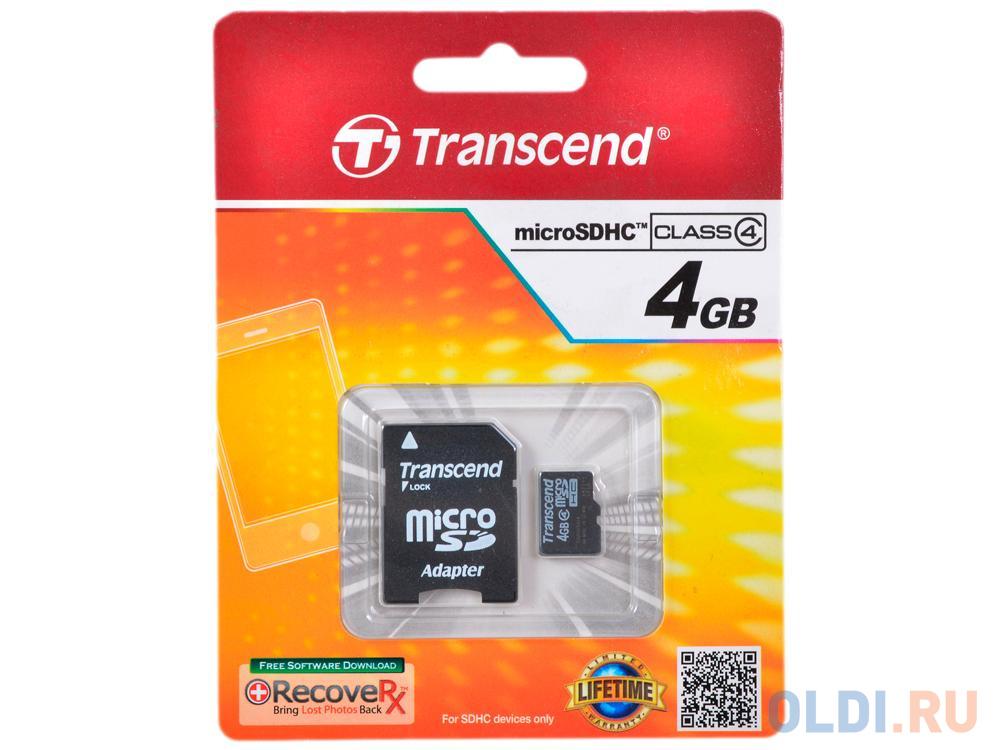 Карта памяти MicroSDHC 4GB Transcend Class4 + Адаптер (TS4GUSDHC4).