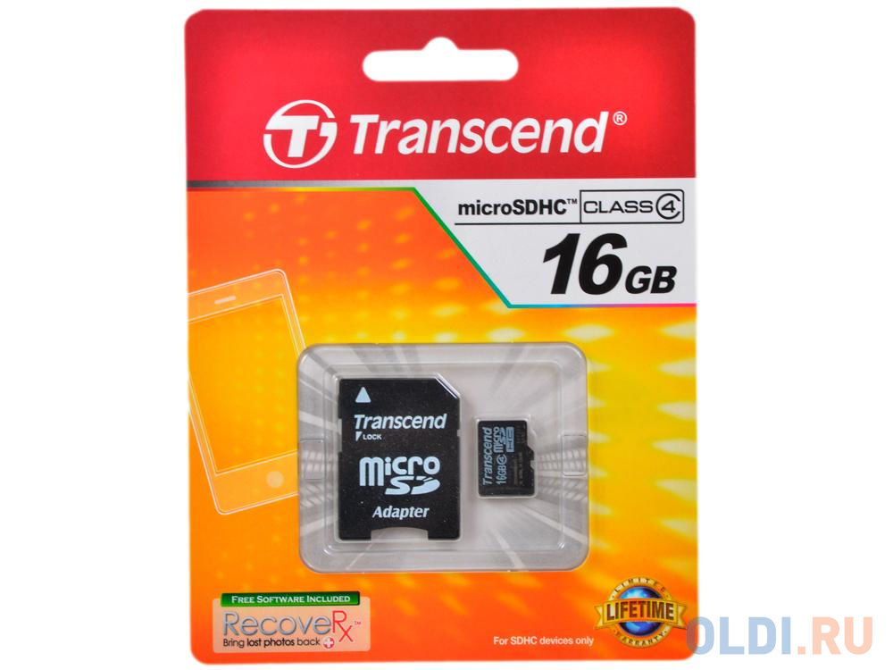 Фото - Карта памяти MicroSDHC 16GB Transcend Class4 (TS16GUSDHC4) карта памяти transcend ts2gcf133