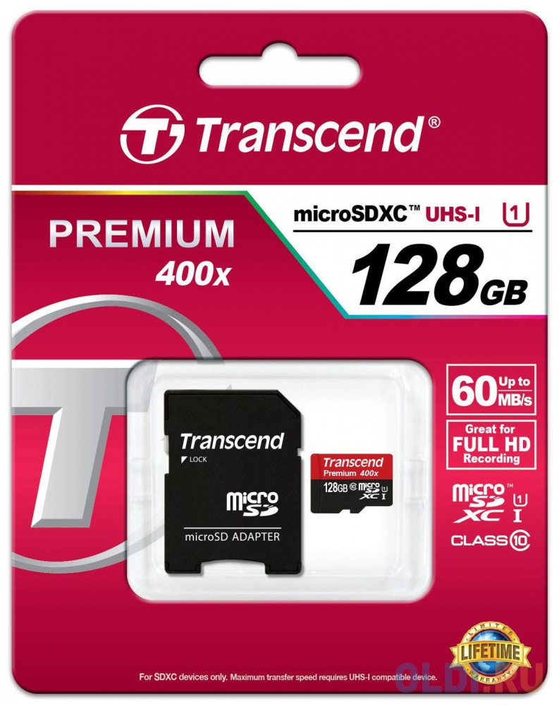 Фото - Карта памяти MicroSDXC 128GB Transcend UHS-I U1 + SD Adapter (TS128GUSDU1) карта памяти microsdhc 16gb transcend uhs i u1 sd adapter ts16gusdu1