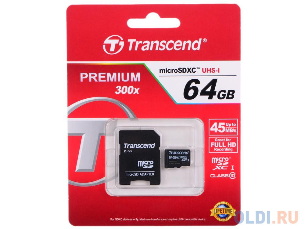 Фото - Карта памяти MicroSDXC 64GB Transcend UHS-I U1 + SD Adapter (TS64GUSDXC10) карта памяти microsdhc 16gb transcend uhs i u1 sd adapter ts16gusdu1