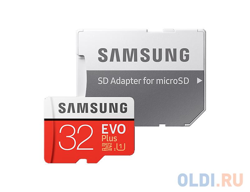 Фото - Карта памяти MicroSDHC 32GB Samsung EVO Plus v2 UHS-I U1 + SD Adapter (R95/W20Mb/s) (MB-MC32GA/RU) карта памяти samsung 64gb evo plus v2 microsdxc class 10 u1 sd adapter mb mc64ha
