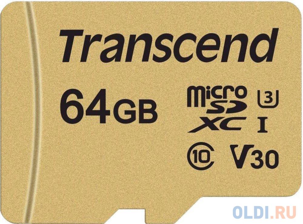 Фото - Флеш-накопитель Micro SecureDigital 64Gb Transcend Class 10 TS64GUSD500S {MicroSDXC Class 10 UHS-I U3, SD adapter} флеш накопитель transcend карта памяти transcend 16gb uhs i u3 microsd with adapter mlc ts16gusd5005
