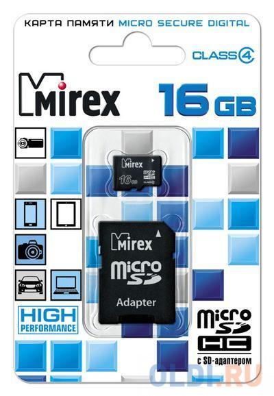 Флеш карта microSD 16GB Mirex microSDHC Class 4 (SD адаптер) флеш карта microsd 16gb verbatim microsdhc class 10 uhs i sd адаптер