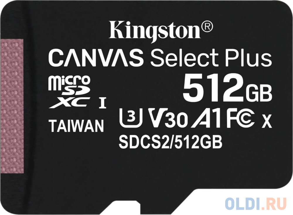 Карта памяти microSDXC Kingston Canvas Select Plus, 512 Гб, UHS-I Class U3 V30 A1, без адаптера