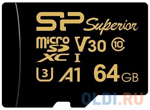 Флеш карта microSD 64GB Silicon Power Superior Golden A1 microSDXC Class 10 UHS-I U3 A1 100/80 Mb/s (SD адаптер)