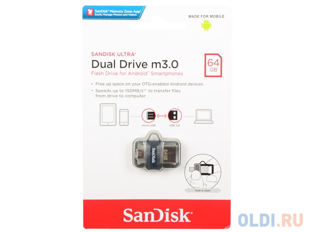 Внешний накопитель USB 64Gb SanDisk Ultra Dual SDDD3-064G-G46 черный.