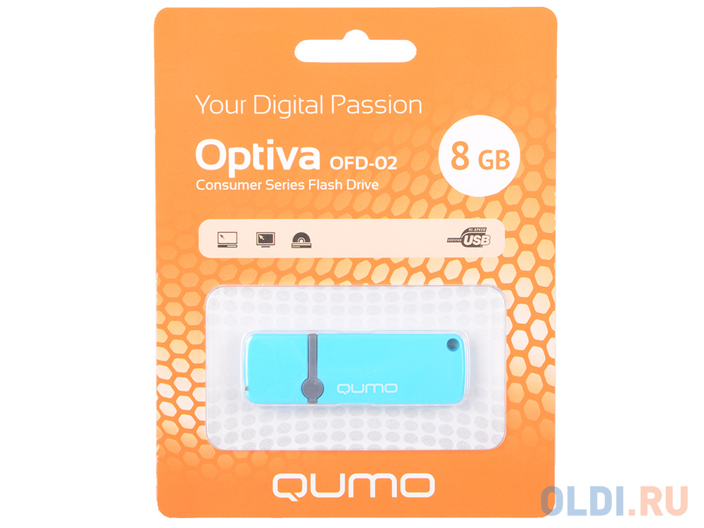 USB флешка QUMO Optiva 02 8Gb Blue (QM8GUD-OP2-blue)