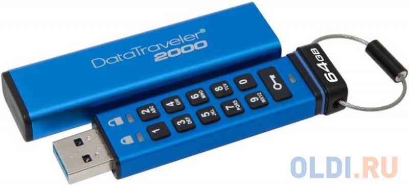 Флешка USB 64Gb Kingston DataTraveler 2000 DT2000/64GB Keypad флешка usb kingston datatraveler g4 64гб usb3 0 белый и фиолетовый [dtig4 64gb]
