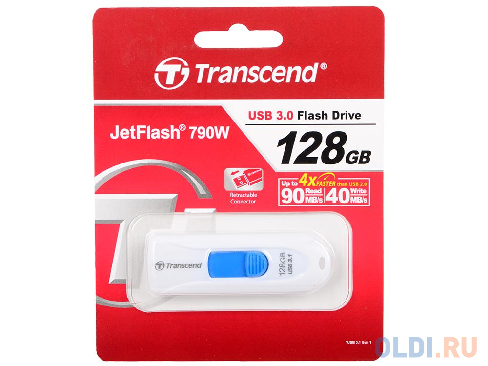 Флешка USB 128Gb Transcend JetFlash 790 TS128GJF790W белый