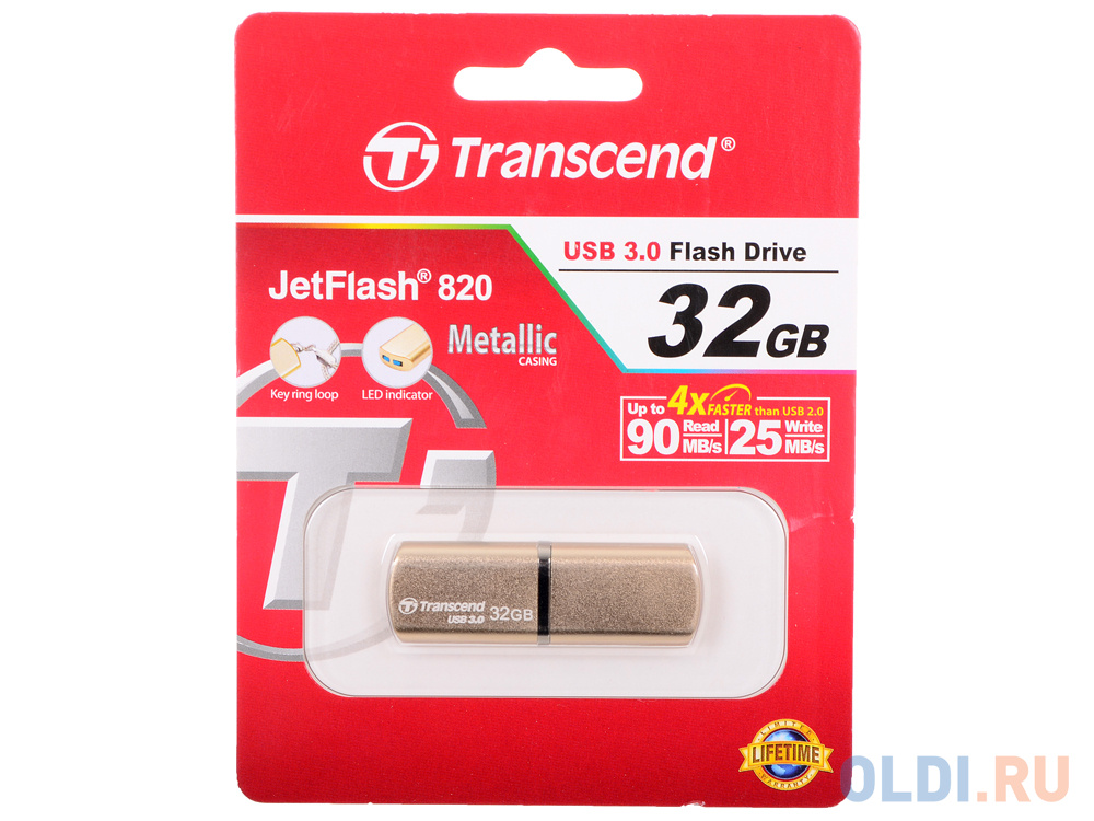 USB флешка Transcend 820 32Gb Golden (TS32GJF820G)