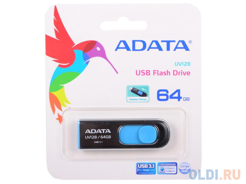 Внешний накопитель 64GB USB Drive ADATA USB 3.1 UV128 черно-синяя выдвижная AUV128-64G-RBE