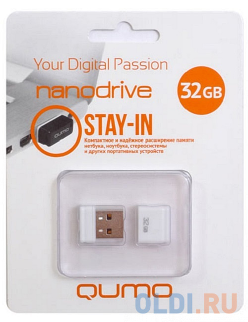 Флешка USB 32Gb QUMO NanoDrive USB2.0 белый QM32GUD-NANO-W usb флешка qumo nanodrive qm32gud nano b 32gb black