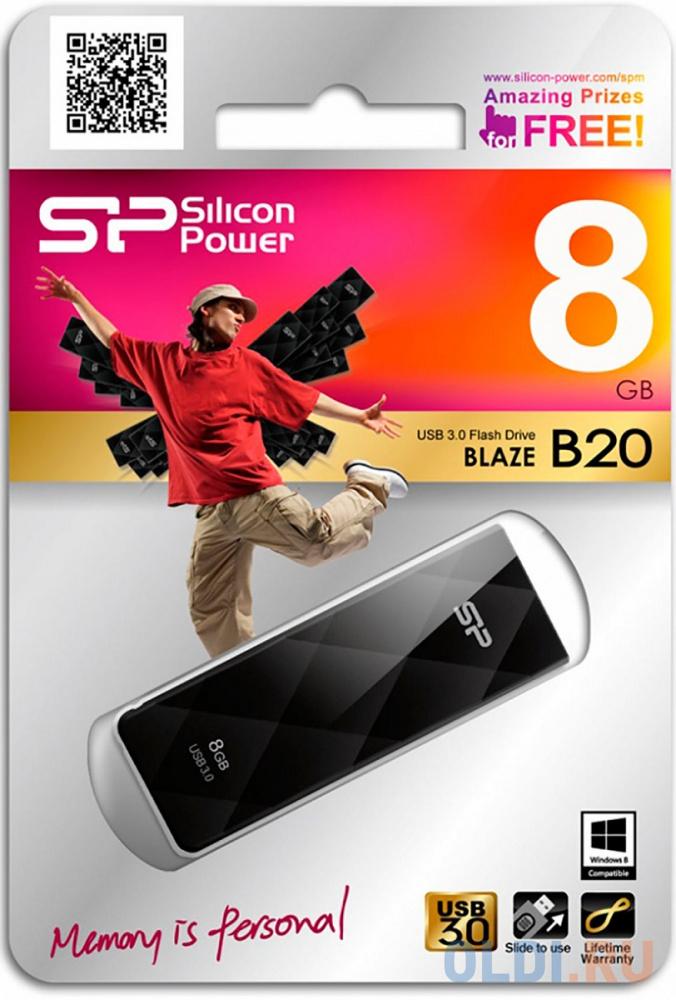 Флешка USB 8Gb Silicon Power Blaze B20 SP008GBUF3B20V1K черный