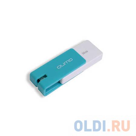 Флешка 16Gb QUMO QM16GUD-CLK-Azure USB 2.0 белый голубой флешка 16gb smart buy paean usb 2 0 белый sb16gbpn w